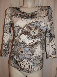 BFS10 CHICOS Size 0 S 4 6 Black Brown Blue Floral Motif 3 4 Sleeve