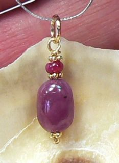 Genuine Natural Untreated African Red Ruby 14k Gold Pendant
