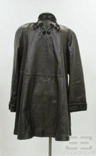 Bruno Magli Black Leather Applique Coat Size Large