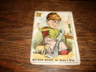 Mother Busby Dr Busbys Wife 1800s RARE Card Vintage Scarce Parker