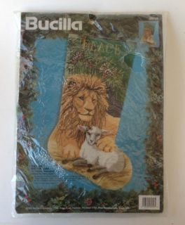 Bucilla 18 Needlepoint Stocking Kit 94 Lion & Lamb Persian Wool Yarn