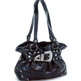Western Cowgirl Studded Rhinestone Buckle Belted Shoulder Bag with