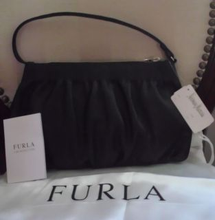 Furla Busta Black Nappa Leather Pouchette Baguette Handbag NWT MSRP $