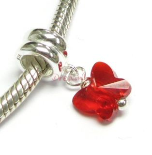 Silver Siam Red Butterfly Dangle Bead For European Charm Bracelets