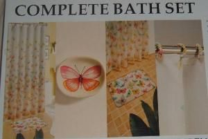 Complete Butterfly Design Bath Set w Shower Curtain Rug Soap Dish