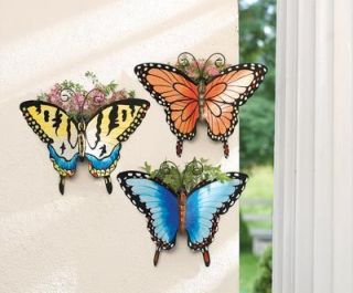 Butterfly Garden Wall Pocket Planters Metal Butterfly Wall Pockets