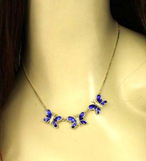 Beautiful 14k Gold Diamonds Enamel Butterfly Necklace