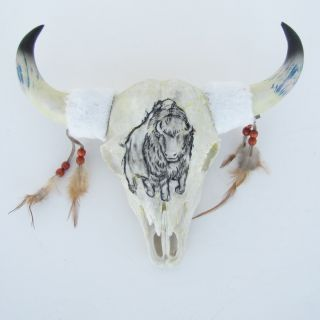 Western Bison Head Mount Carved Buffalo Skull Taxidermy Resin Cabin
