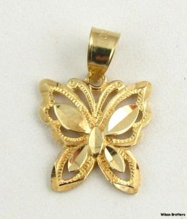 Butterfly Pendant Solid 10K Yellow Gold Fine Estate Fashion Charm