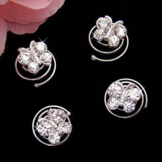 12 Crystal Butterfly Wedding Hair Twist Ins Hair Pins