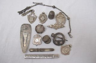 HALLMARKED ITEMS WATCH CHAIN FOB BROOCH NEEDLE CASE BUTTON HOOK Ect