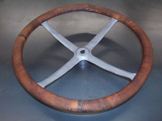 "Wooden 4 Spoke Steering Wheel 17"" Pontiac Chevy Buick Antique"