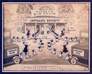 Mickey Mouse Orphans Benefit Cartoon Cel Patrick Block Original Art