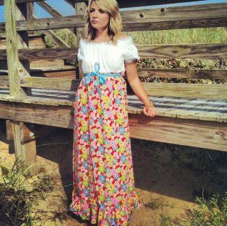 Vintage 60s 70s Off The Shoulder Maxi Dress Boho Hippie Flower Power