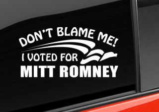 Bumper Sticker Mitt Romney Anti Obama Vinyl Decal Sticker