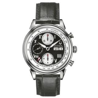Bulova Accutron Mens Gemini Automatic Chronograph Leather Swiss Watch