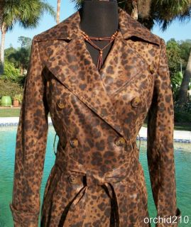 Cache $328 Trench Coat Belt Leopard Print Jacket XS s M Delicious