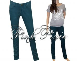 Maternity Skinny Straight Under Bump Low Rise Soft Stretch Jeans Green