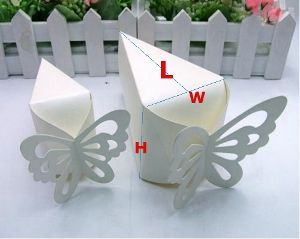 Wedding Cake Boxes, Ivory Pearl Paper Wedge Shaped, Top open for easy