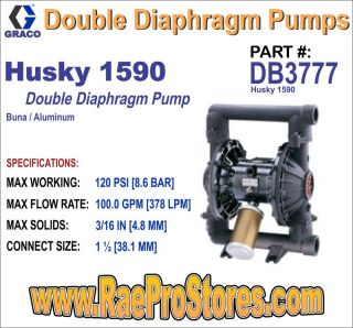 Graco Husky 1590 Buna Al Double Diaphragm Pump DB3777