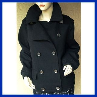 BURBERRY BRIT New Auth Trench Coat Jacket sz 46   12 Womens Black Wool