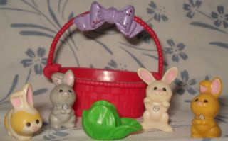 Littlest Pet Shop Vintage 1995 Baby Bunnies Basket Set