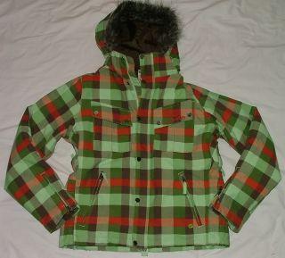 Burton 3 2 Geo Plaid Snowboard Ski Coat Womens L Large Faux Fur Trim