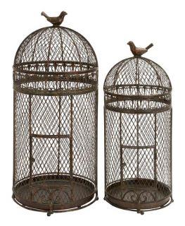 Set 2 Old World Patina Metal Round Iron Parakeet Bird Cages