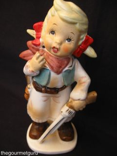 Vtg Calamity Jane Figurine Kewpie Hunter Girl w Shot Gun Gold Handled