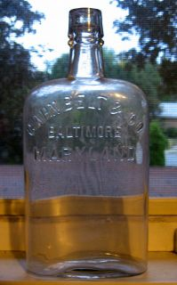 Cahn Belt Co Baltimore MD Whiskey Flask Bottle Antique Old Maryland