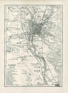 Cairo Egypt Authentic Antique Map Genuine 102 Years Old Made in 1910