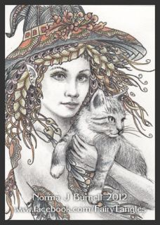Original ACEO Art Sketch Card Witch & Cat Halloween Witches CATS Fairy