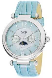 Burgi BUR043BU Diamond Swiss Quartz Strap Womens Watch
