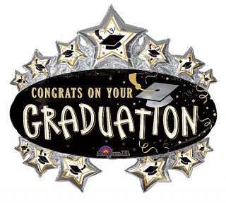 Graduation 31 Balloon Marquee Style Black Silver Gold Congrats Free