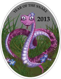 LUNAR CALENDAR Chinese Love Snake 1 Niue Islands 2013 Silver Coin