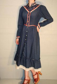 Blue Jean Denim USA Gunne Sax Prairie Calico Lace Ruffle Dress