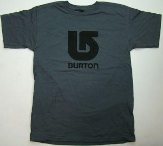 Burton Mens T Shirt Gray Shirt Black Corp Logo Tee Snowboard Size