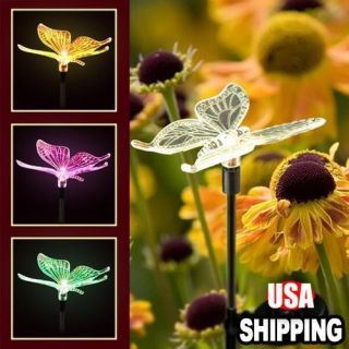 Solar Power LED Butterfly Multi Color Changing Garden Party Decor