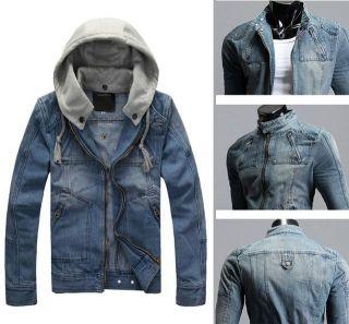 New Fashion Mens Vintage Classic Detachable Hood Denim Jean Jacket