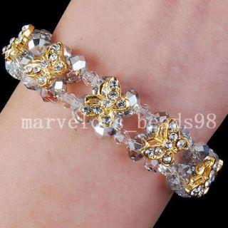 Half Silver Crystal Yellow Butterfly Bracelet G2887
