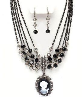 New Black Smoke Lady Cameo Rhinestone Festoon Bib Necklace Pierced