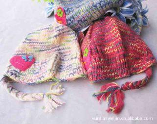 Baby Boys Girls Crochet Knitting Handmade Hat Kids Flower Earmuffs Cap