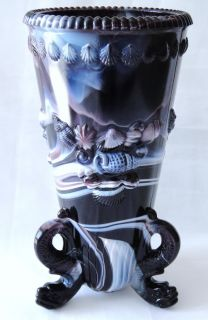 Amethyst Purple White Slag Glass Dolphin Shells Vase