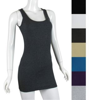 Solid Basic Ribbed Cotton Tank Top Fitted Camis T Shirt Tunic