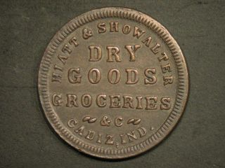 1863 Hiatt & Showalter Dry Goods, Cadiz Indiana Civil War token store