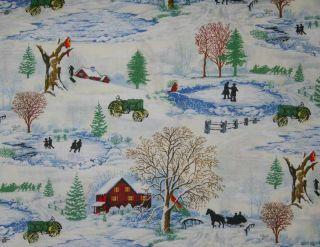 John Deere Winter Christmas Snow Ice Skate Pond Tractor Curtain