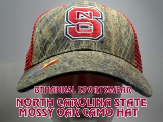 STATE MOSSY OAK CAMO SNAPBACK HAT,CAP,NEW,NC STATE,CAMO+RED MESH