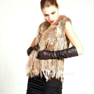 High Quality Real Knitted Rabbit Fur Waistcoat Vest gilet with Raccoon