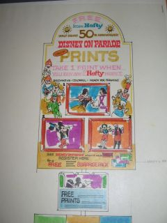 1970s Original Art Premium Mickey Mouse Disney 50th Anniv Hefty Bags