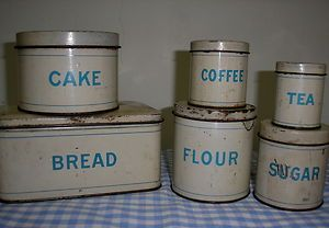 CHILDS METAL TIN CANISTER SET BREADBOX CAKE FLOUR SUGAR COFFEE TEA